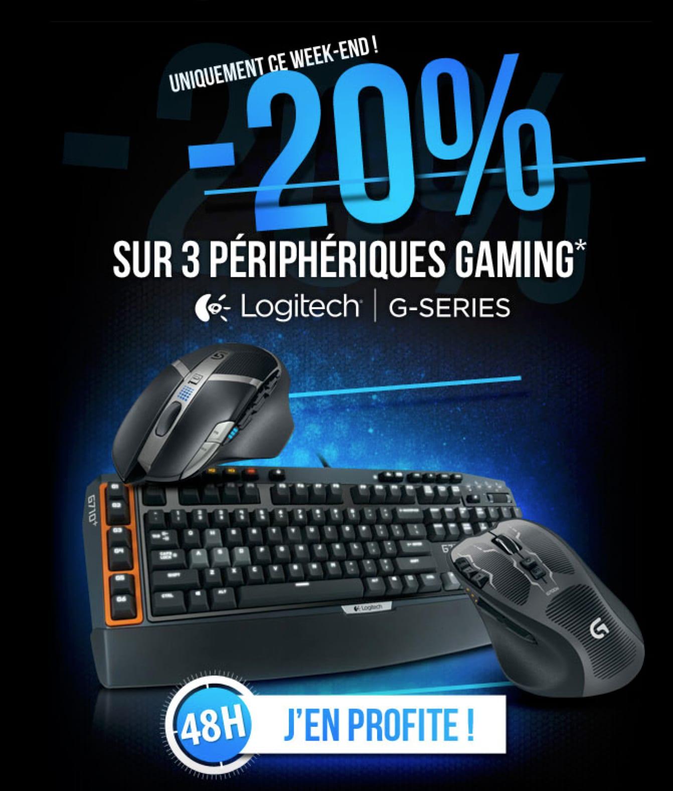 """<span class=""""tagtitre"""">Bon plan - </span>20% de remise sur clavier / souris Logitech gamers"""