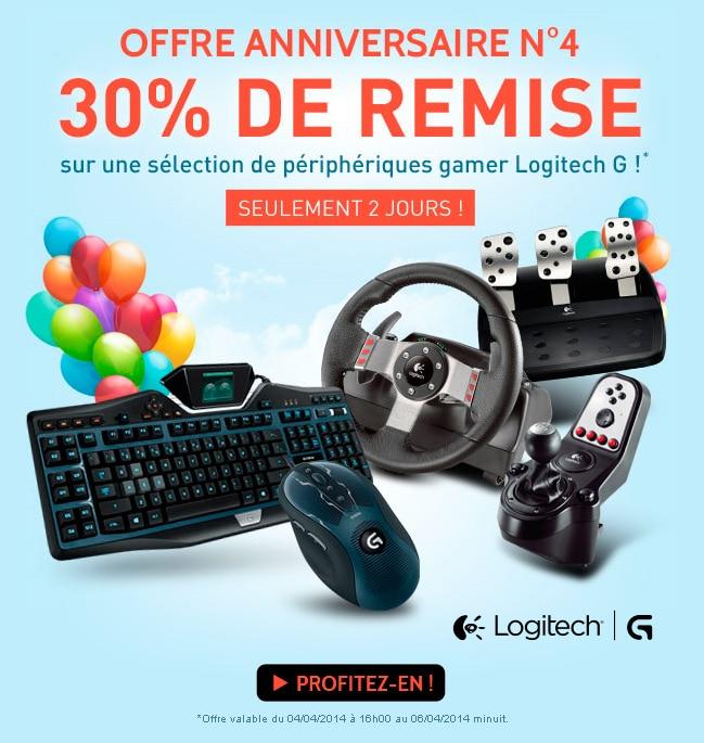 """<span class=""""toptagtitre"""">Bon plan ! </span>30% de remise sur des périphériques gamer Logitech chez Materiel.net"""