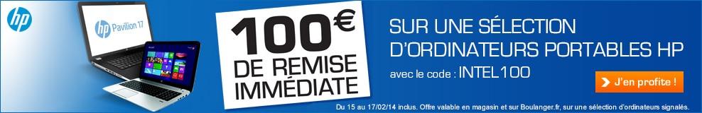 """<span class=""""toptagtitre"""">Bon plan ! </span>100€ de remise sur une sélection de PC portables HP ce week-end chez Boulanger (dernier jour)"""