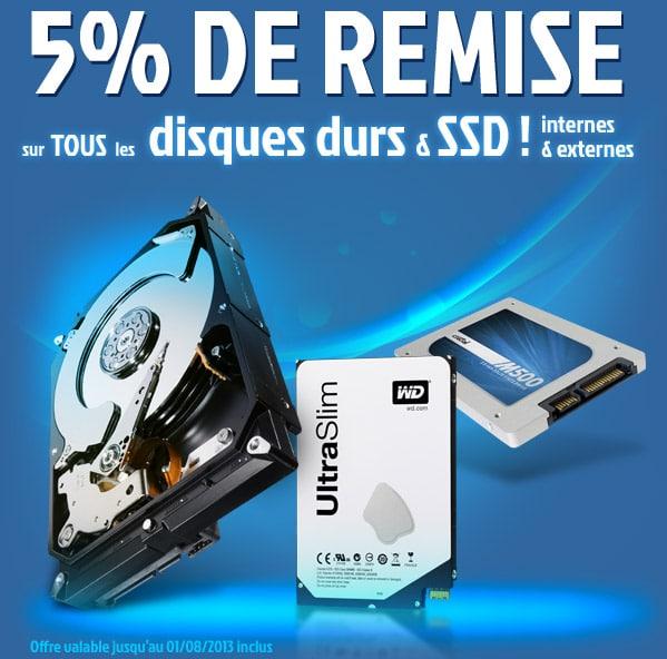 """<span class=""""tagtitre"""">Bon plan - </span>5% de remise sur les disques durs et SSD chez Materiel"""