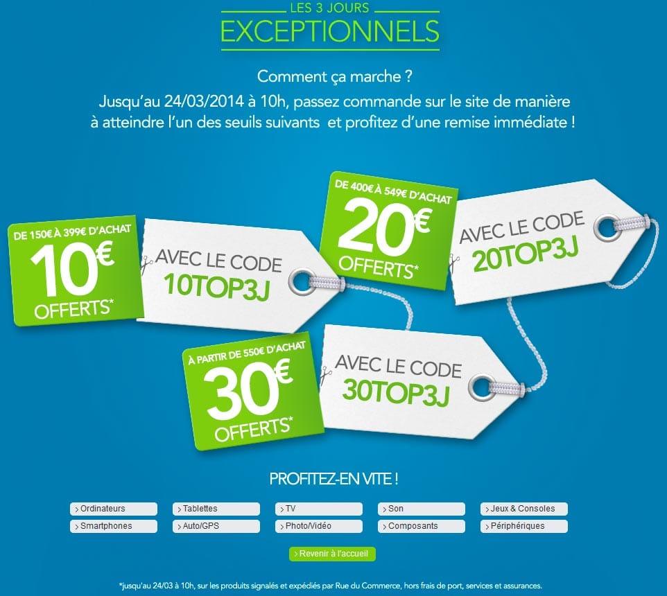 """<span class=""""tagtitre"""">Bon Plan - </span>Jusqu'à 30€ de remise immédiate chez Rue du Commerce"""