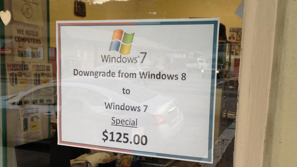 Windows 8 downgrade Windows 7 125 dollars USA